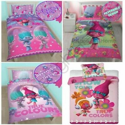 Trolls Duvet Cover And Pillowcase Sets - Kids Bedding New Official