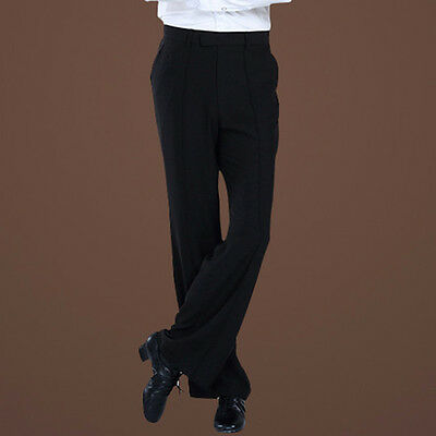 Men's Dance Pants Latin Practice Trousers Black Ballroom Rumba Stage Dancewear