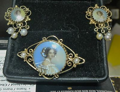Antique Brooch And Earrings Portrait Hd Ptd 14Kt Yellow Gold 11.05 Grams