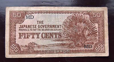 Wwii 50 Cents Malaysia Japanese Invasion Money Currency Note Banknote Bill