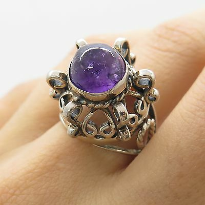 Mexico 925 Sterling Silver Natural Amethyst Gemstone Modernist Ring Size 9