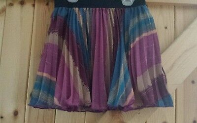 Pretty Girls Pleated Skirt By M&S Autograph Age 9 Yrs In Mixed Purple Blues W24""