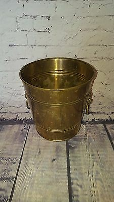 Antique Vintage Brass Peerage Lions Head Ice Bucket Plant Pot Champagne Party