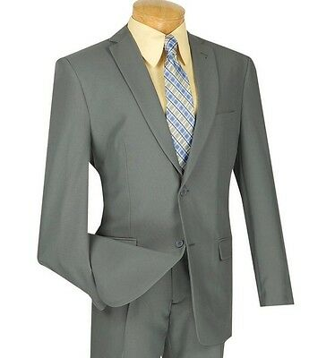 Men's Gray 2 Button Classic Fit Polyester Suit NEW