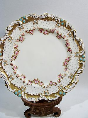 Fine ADDERLEY Bone China JEWELED Rose Garland Encrusted Gold 8842 Luncheon Plate