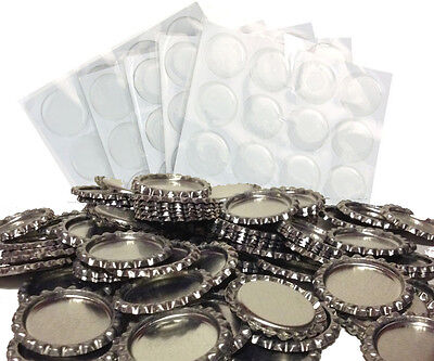 Pack of 100 Flat Chrome Bottle Caps Craft and 100 Epoxy Clear Resin Domes #102
