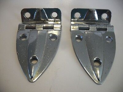 "VINTAGE AMEROCK Art Deco CHROME Cabinet Door Hinges 3/8"" offset Hoosier Boat"