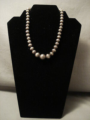 Hand Tooled Vintage Navajo Silver Bead Necklace Old