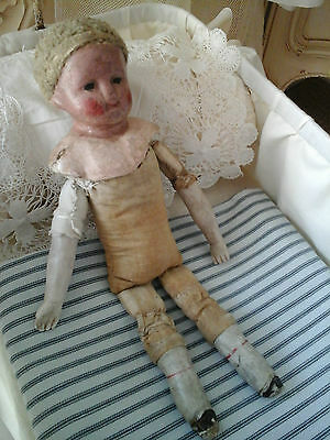 Rare Antique French Boudoir Mannequin Doll~Primitive Porcelain/Linen Textil 1800