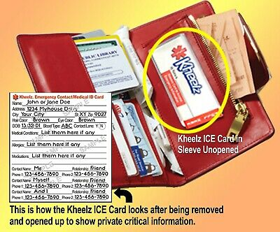 Medical Alert Wallet ICE (In Case of Emergency) Card by Kheelz ICE Cards