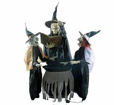 Animated 3 Witches Trio Cauldron Halloween Moving Stick Light Up Talking Prop