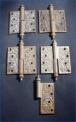 3 VINTAGE ORNATE WOOTON DESK HINGES & 1-1/2 REPRO BRONZE HINGES 4-1/2 x 4-1/2
