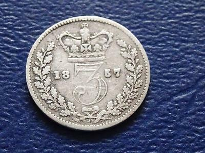 Great Britain - Queen Victoria Silver Threepence 1857