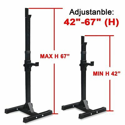 2 PCS Adjustable Squat Rack & Dip Stand Barbell/Weight Gym Bench Power/Lifting