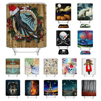 Halloween Xmas Printed Bathroom Shower Curtain MatWaterproof Polyester Decor