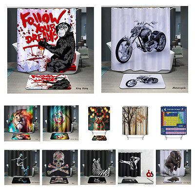 3D Animal Printed Bathroom Waterproof Polyester Shower Curtain and Bath Mat Set