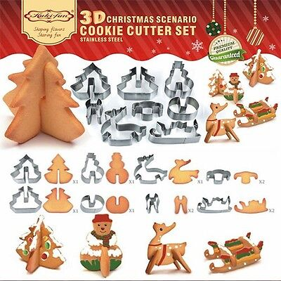 3D Stainless Steel Biscuit Cookie Pastry Fondant Mould Cutter Decor Christmas