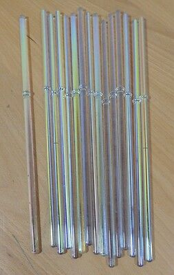 "1 Pound 5-6 mm Clear Iridescent Glass Blowing Rods 11 1/2"" Long"