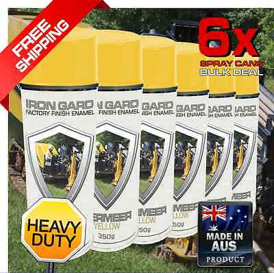 6x IRON GARD Spray Paint VERMEER YELLOW Chipper Grinder Drill Trench Skid Excava