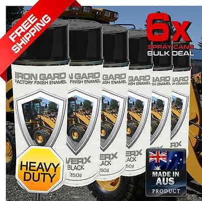 6x IRON GARD Spray Paint WERX BLACK Excavator Auger Wheel Loader Skid Bucket