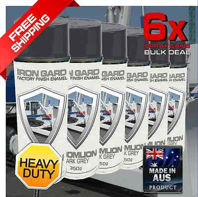 6x IRON GARD Spray Paint ZOOMLION GREY Dozer Excavator Auger Loader Skid Bucket