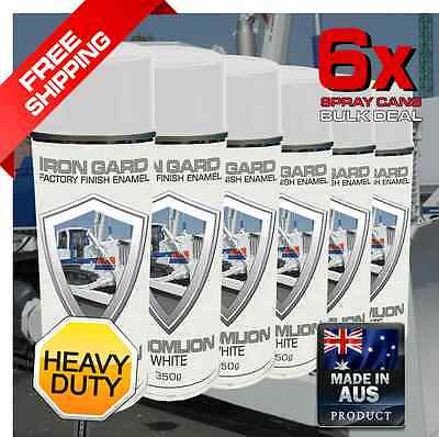 6x IRON GARD Spray Paint ZOOMLION WHITE Dozer Excavator Auger Loader Skid Bucket