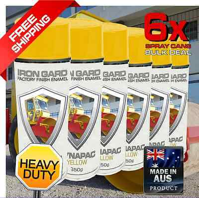 6x IRON GARD Spray Paint DYNAPAC YELLOW Roller Compactor Drum Road Jackhammer