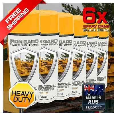 6x IRON GARD Spray Paint INTERNATIONAL HARVESTER YELLOW Dozer Excavator Digger