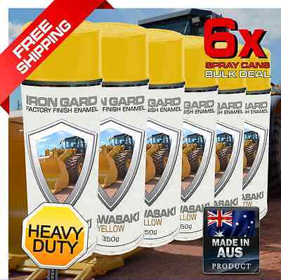6x IRON GARD Spray Paint KAWASAKI YELLOW Excavator Auger Bucket Loader Wheel Ton