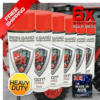 6x IRON GARD Spray Paint KIOTI ORANGE Tractor Front Fork Loader Wheel Ride-on T
