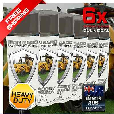 6x IRON GARD Spray Paint MASSEY FERGUSON GREY Tractor Backhoe Loader Bucket Dig