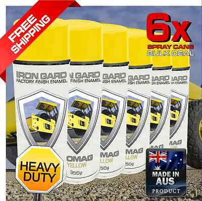 6x IRON GARD Spray Paint BOMAG YELLOW Roller Compactor Drum Road Jackhammer Equi