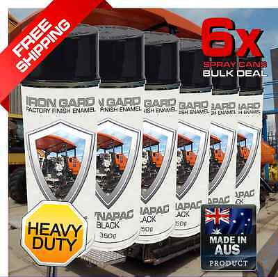6x IRON GARD Spray Paint DYNAPAC BLACK Roller Compactor Drum Road Jackhammer Ton