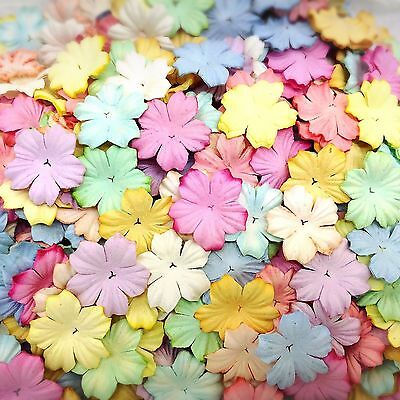 50 Mixed Pastel Color Flowers mulberry paper for Craft & D.I.Y #05