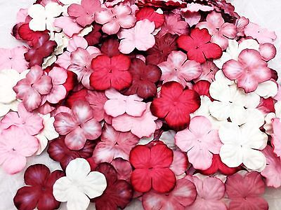 50 Mixed Red Tone & White Hydrangea Flowers mulberry paper for Craft & D.I.Y