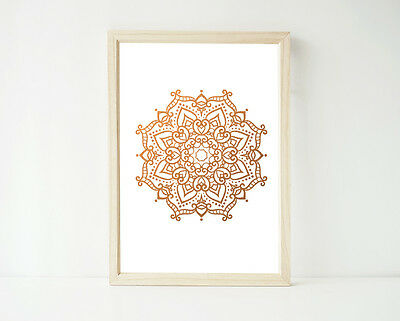 REAL Copper Foil Mandala Print, Poster Prints, Home Decor Bedroom Wall Art