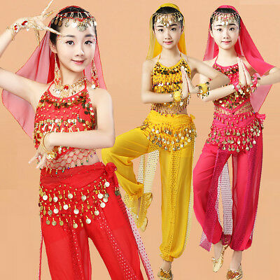 Kids' Girls Belly Dance Outfit Costume Perform 3 Colors Top+Pants S/M/L/XL/XXL