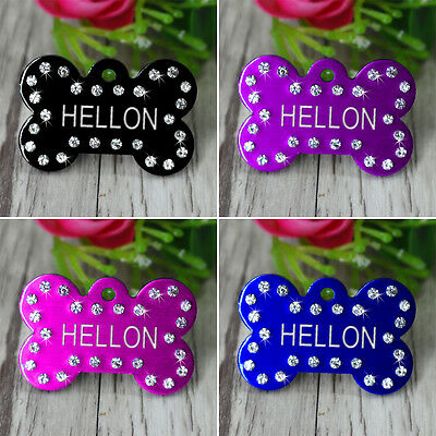 Shiny Personalized Dog Tags Bling Bone Shape Free Engraving Dog Cat Name ID Tag
