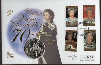 St Helena 1996 Queen Elizabeth 70th Birthday 50 pence Coin Cover