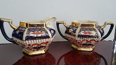 Antique Victorian Imari Welsh Gaudy Floral & Gold Gilt Creamer And Sugar Bowl.