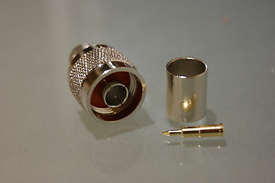 Type N connector (male) for LMR400 cable crimp (A pack of two items)