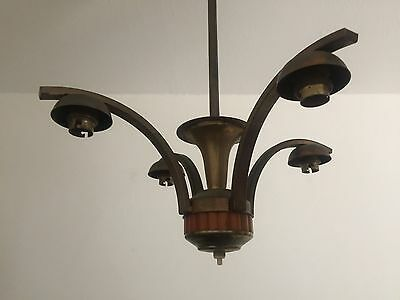 Vintage Art Deco Butterscotch Bakelite And Brass Chandelier Light Fitting