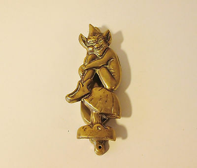 Large Antique Brass Genuine Art Deco Door Knocker Pixie Sitting On A Toadstool