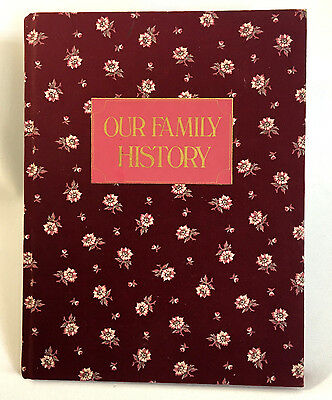 'Our Family History' Personal Note Book Genealogy Chart Floral Fabric Cover New