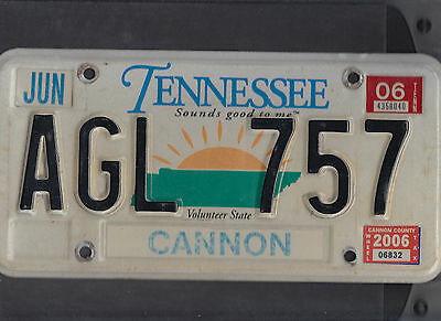 """TENNESSEE passenger 2006 license plate """"AGL 757"""" ***CANNON***"""