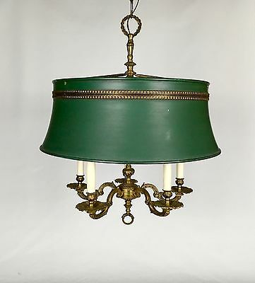Vintage French Tole Bouillette Chandelier Brass Pendant Light