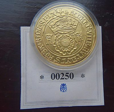 King Henry VIII 1526 Gold plated Pattern Crown Double Rose Coin Capsule & C.O.A