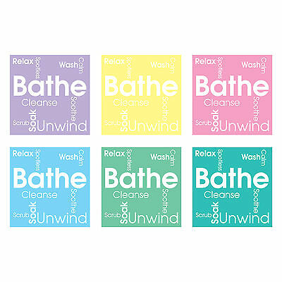 Tile Stickers Transfer Bathroom Contemporary Bathe Word Cloud Custom Size Option