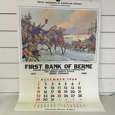 Vintage 1968 First Bank of Berne Calendar - The Artillery Arrives - Berne, IN -