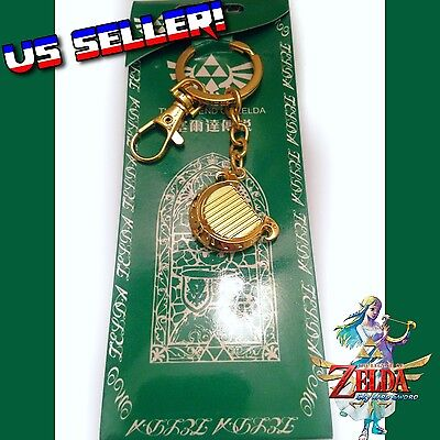 Legend Of Zelda Skyward Sword Gold Goddess Harp Metal Charm Keychain Triforce